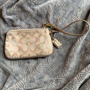 Coach gold signature cc wristlet clutch coin purse